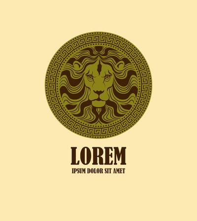 medaglione: Testa di leone medaglione modello logo design. Stilizzata testa di leone in un'antica icona medaglione come logo. Illustrazione vettoriale Vettoriali