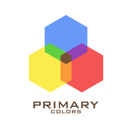 primary colors: Primary color logo design template. Three hexagons of primary colors blue, red, yellow and mixing of them. Vector illustration