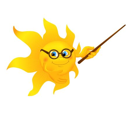funny cartoon: Funny cartoon sun pointing. Smiling cartoon sun wearing glasses with pointer presentations something isolated on white background. Vector illustration. Illustration