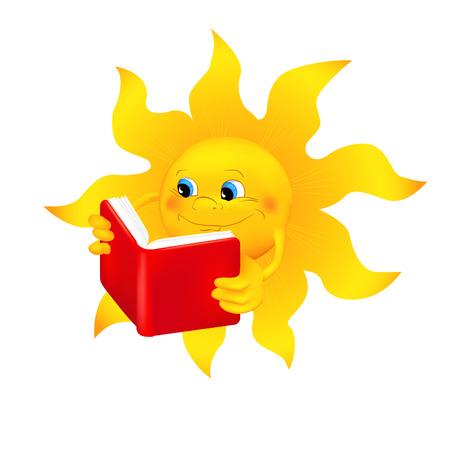 sol caricatura: Sol de dibujos animados divertido de leer un libro. Sol sonriente historieta que lee un libro aislado en el fondo blanco. Ilustración del vector. Vectores