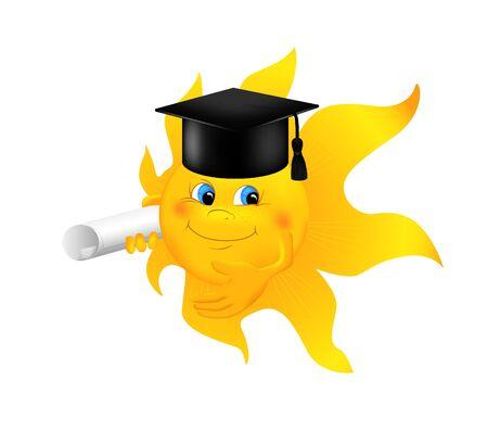 graduacion caricatura: Sol de la historieta divertida que desgasta el casquillo de la graduaci�n. Sol sonriente de dibujos animados con plaza casquillo acad�mico y rollo de papel aislado en blanco. Ilustraci�n vectorial