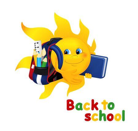 graduacion caricatura: Sol de la historieta divertida con la bolsa de la escuela. Sol sonriente de dibujos animados con la cartera y el libro aislado en el fondo blanco. Ilustraci�n vectorial