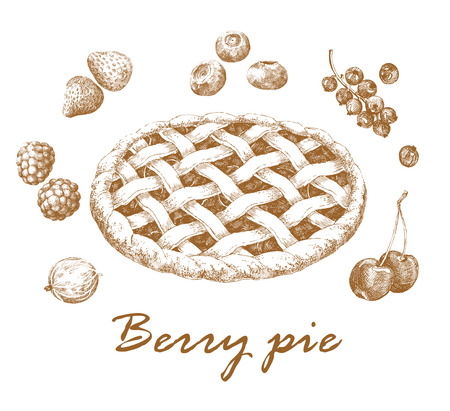 sweetshop: Berry pie. Hand-drawn graphic picture of apple pie and different berries. Retro style. Vector illustration.