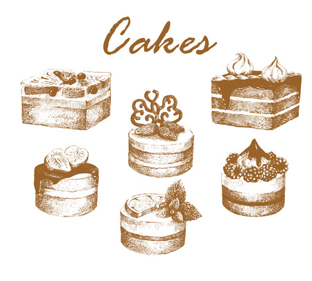 sweetshop: Cakes. Set of hand-drawn graphic cakes. Jelly, almond, raspberry, lemon, strawberry and chocolate cakes. Retro style. Vector illustration. Illustration
