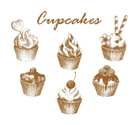 confiture: Cupcakes. Set of hand-drawn graphic cupcakes. Retro style. Vector illustration.