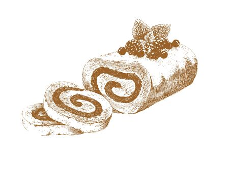 Swiss roll. Hand-drawn graphic picture of jelly roll decorated with powdered sugar, raspberries and mint with two cutting pieces. Retro style. Vector illustration