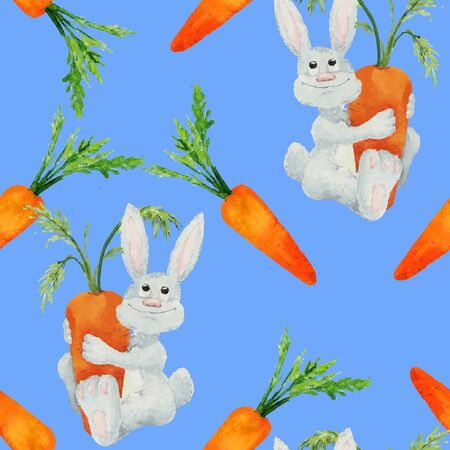 downy: Rabbit seamless. Seamless pattern with funny cartoon watercolor rabbits and carrots. Hand-drown illustration. Vector