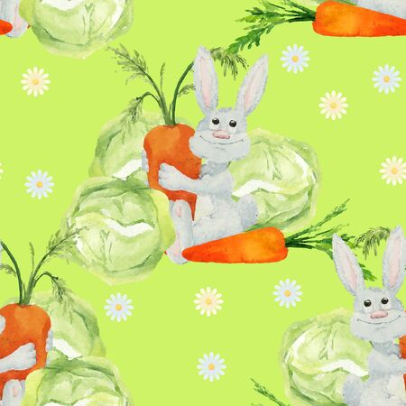 downy: Rabbit with vegetables seamless pattern. Seamless pattern with funny cartoon watercolor rabbits, carrots and cabbage. Hand-drown illustration. Vector Illustration
