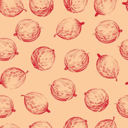 hand colored: Red gooseberries seamless pattern. Seamless pattern with colored hand draw graphic red gooseberries. Vector illustration.
