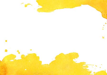 amarillo: Fondo con color amarillo mancha de acuarela. Fondo blanco con manchas de acuarela y el lugar de su texto. Ilustración del vector.