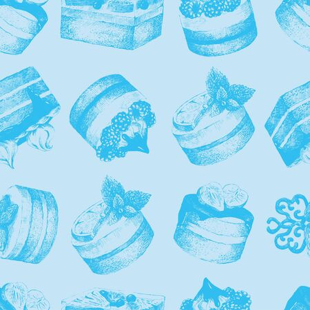 Cakes blue seamless pattern. Light blue monochrome seamless pattern with graphic hand-drawn cakes. Vector illustration.