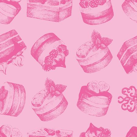 sweetshop: Cakes pink seamless pattern. Pink monochrome seamless pattern with graphic hand-drawn cakes. Vector illustration.
