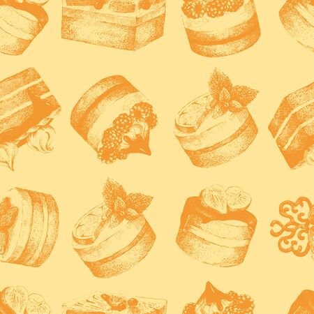 sweetshop: Cakes seamless pattern. Ocher monochrome seamless pattern with graphic hand-drawn cakes. Vector illustration. Illustration