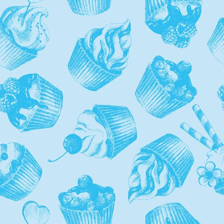 Cupcakes blue seamless pattern. Light blue monochrome seamless pattern with graphic hand-drawn cupcakes. Vector illustration. Ilustrace