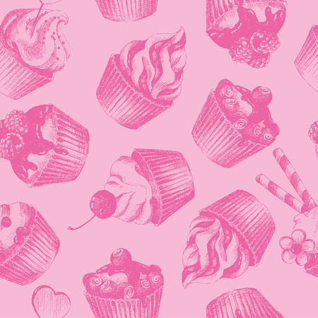 sweetshop: Cupcakes pink seamless pattern. Pink monochrome seamless pattern with graphic hand-drawn cupcakes. Vector illustration.