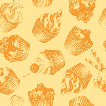 Cupcakes ocher seamless pattern. Ochre monochrome seamless pattern with graphic hand-drawn cupcakes. Vector illustration. Ilustrace