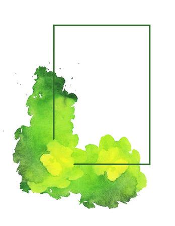 Groene aquarel spot met frame. Witte achtergrond met lichtgroen aquarel vlek en frame. Vector illustratie.