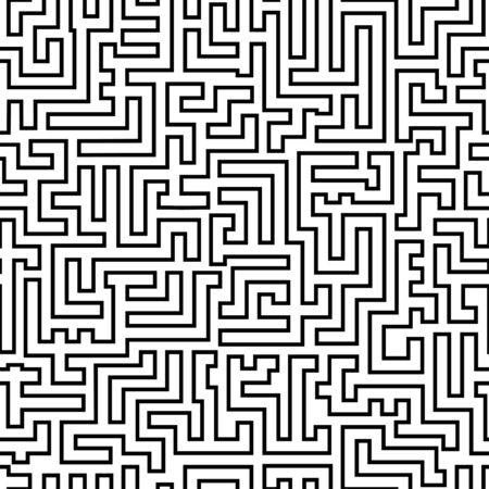 labyrinthine: Labyrinth pattern. Black and white geometric seamless with ornament like maze. Vector illustration. Illustration