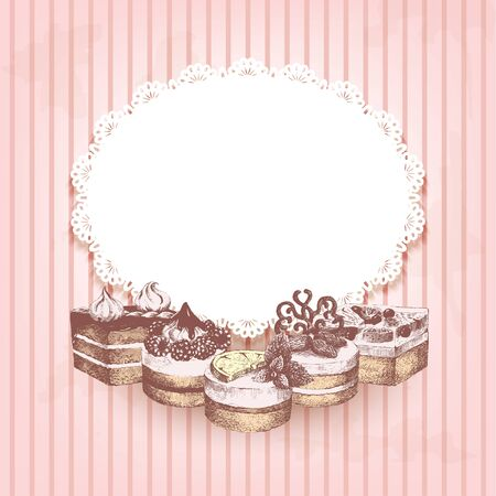 sweetshop: Pink retro background with hand drawn cakes. Vintage striped background with graphic hand-drawn cakes and white oval decorative napkin with place for your text. Vector illustration.