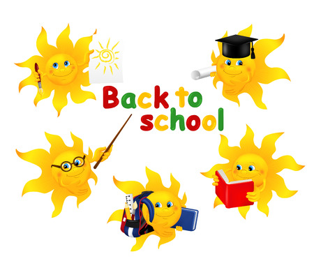 escuela caricatura: De vuelta a la escuela. Conjunto de Sun divertido de la historieta en diferente situación en la escuela. Ilustración del vector aislado en el fondo blanco
