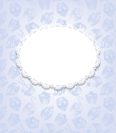 sweetshop: Blue retro background with cupcakes and doily. Vintage background with graphic hand-drawn cupcakes texture and white oval decorative napkin with place for your text. Vector illustration. Illustration