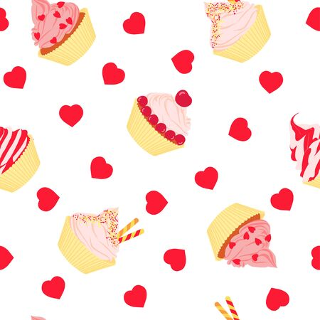 Cakes seamless pattern on white background. Seamless pattern with cartoon cupcakes and hearts. Vector illustration. Ilustrace
