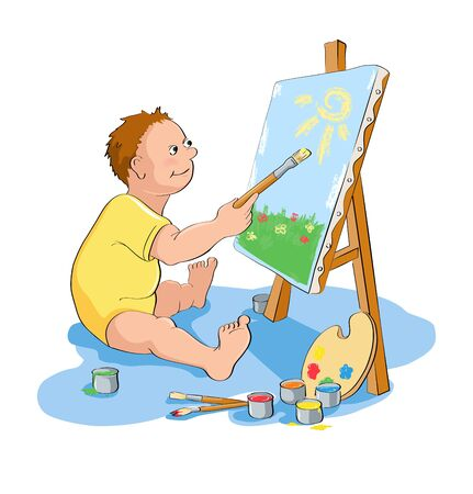 talented: Painting boy. Funny cartoon little boy paints a picture. Vector illustration of a series Talented children
