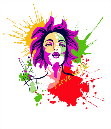 fullface: Pop-art girl with kissing lips and two finger up gesture. Portrait of sexy brunette girl in the pop art style with the air kiss gesture on the white background with color blotches and lettering I love selfie as a template of T-shirt print. Vector illustra