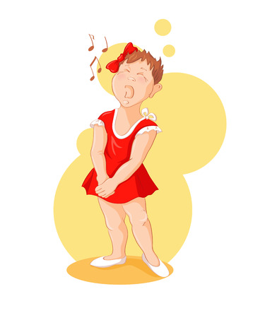 talented: Singing girl. Funny cartoon little girl is singing. Vector illustration of a series Talented children