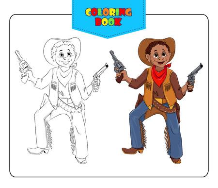 vaquero: Niño pequeño en Cowboy traje del carnaval. Libro de colorear. Conjunto de esquema y de color muchacho sonriente de dibujos animados en traje de fantasía de vaquero. Ilustración del vector.