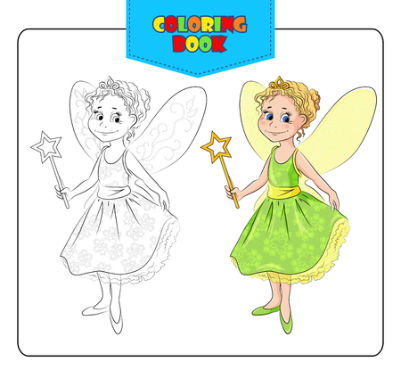 fancy dress: Little girl in carnival costume Fairy. Coloring book. Set of outline and colored cartoon girl in fancy dress of Fairy. Vector illustration.