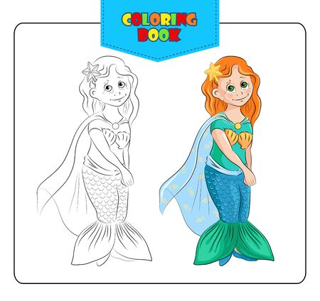 fancy dress: Little girl in carnival costume Mermaid. Coloring book. Set of outline and colored cartoon girl in fancy dress of Mermaid. Vector illustration.