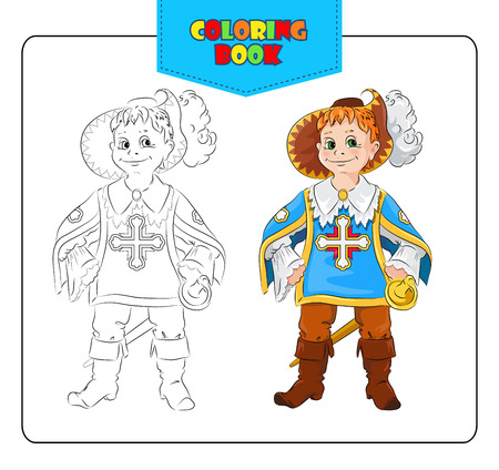 fancy dress: Little boy in carnival costume Musketeers. Coloring book. Set of outline and colored cartoon boy in fancy dress of Musketeer. Vector illustration.