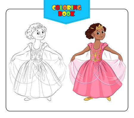 Little girl in carnival costume Princess. Coloring book. Set of outline and colored smiling cartoon girl in fancy dress of Princess. Vector illustration. Illustration