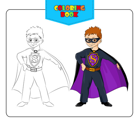 vigilantes: Little boy in carnival costume Superhero. Coloring book. Set of outline and colored cartoon boy in fancy dress of Superhero. Vector illustration. Illustration