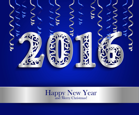 happy new year banner: New Year greeting banner with paper streamers and silver date 2016. Blue horizontal background decorated with colorful streamers, silvery carved paper pattern date 2016 and ribbon with lettering Happy New Year Merry Christmas. Vector illustration