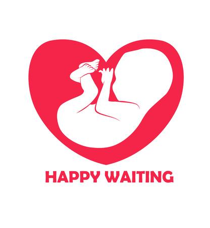 foetus: Embryo in heart shape  design. Silhouette of embryo baby in heart shape as template of company. Vector illustration Illustration
