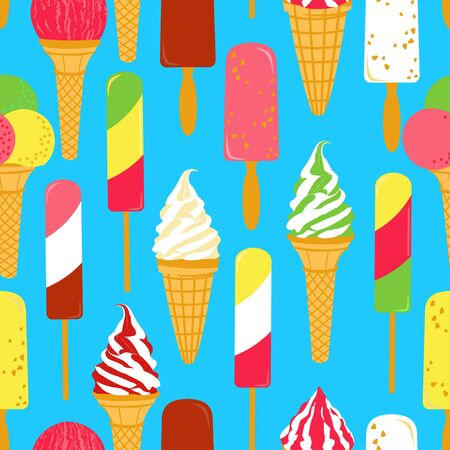sweet sauce: Ice cream seamless. Seamless pattern with bright colorful ice creams. Vector illustration