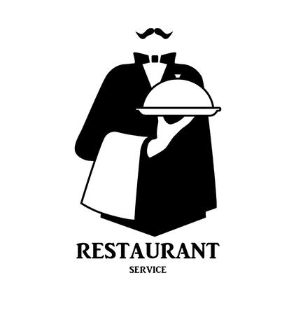 Waiter logo design. Stylized graphic image waiter with tray as template of company logotype. Vector illustration. Çizim