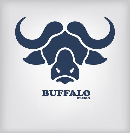 bullish: Buffalo head logo design. Stylized bull head as template of company logotype. Vector illustration