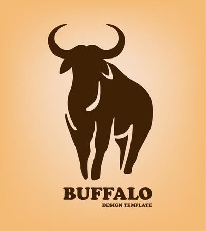 horny: Buffalo logo design. Stylized bull head as template of company logotype. Vector illustration