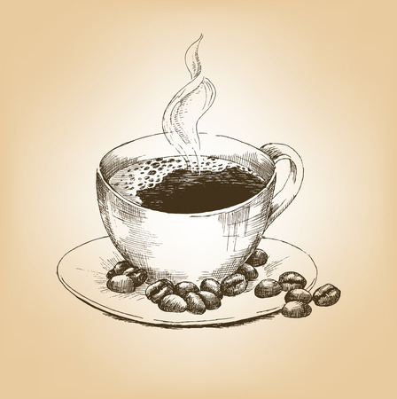 trickle: Cup of hot coffee and coffee beans on saucer. Hand drawn graphic illustration cup of coffee with a trickle of steam. Vector