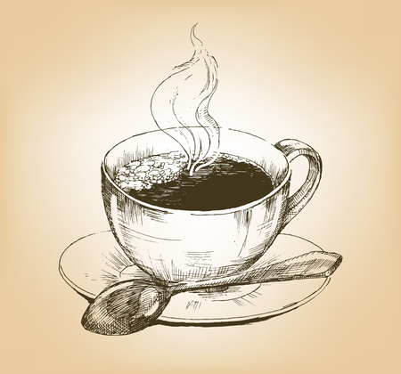 trickle: Cup of hot coffee on saucer. Hand drawn graphic illustration cup of coffee with a trickle of steam. Vector