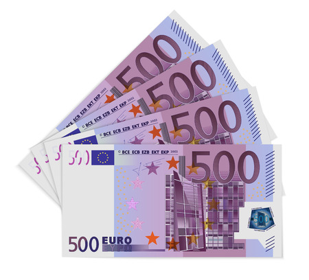 500 Euro bills. Five hundred euro notes isolated on white background. Vector illustration