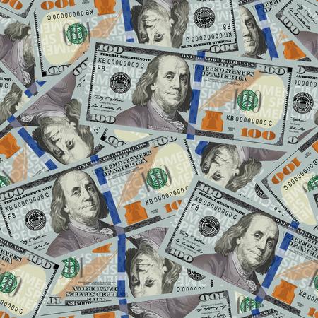 100 dollari senza soluzione di continuità. Struttura senza giunte di banconote stilizzate un centinaio di dollari. illustrazione di vettore