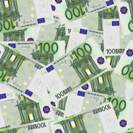 tileable: 100 Euro bills seamless. Seamless texture of stylized one hundred euro notes. Vector illustration