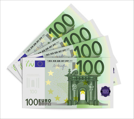 100 Euro bills. One hundred euro notes isolated on white background. Vector illustration 向量圖像