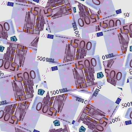 500 Euro bills seamless. Seamless texture of stylized five hundred euro notes. Vector illustration