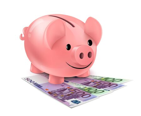 one hundred euro banknote: Piggy bank and fan of euro banknotes. Piggybank standing on heap of one hundred and five hundred euro bills isolated on white background.