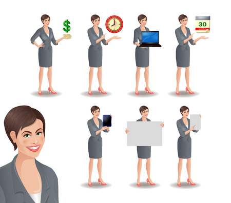 businesswoman suit: Business woman set 2. Set of smiling businesswoman. Cute girl in suit standing in different presentation poses: with dollars, clock, laptop, tablet, calendar, placard, sheet of paper. Vector illustration isolated on white background.